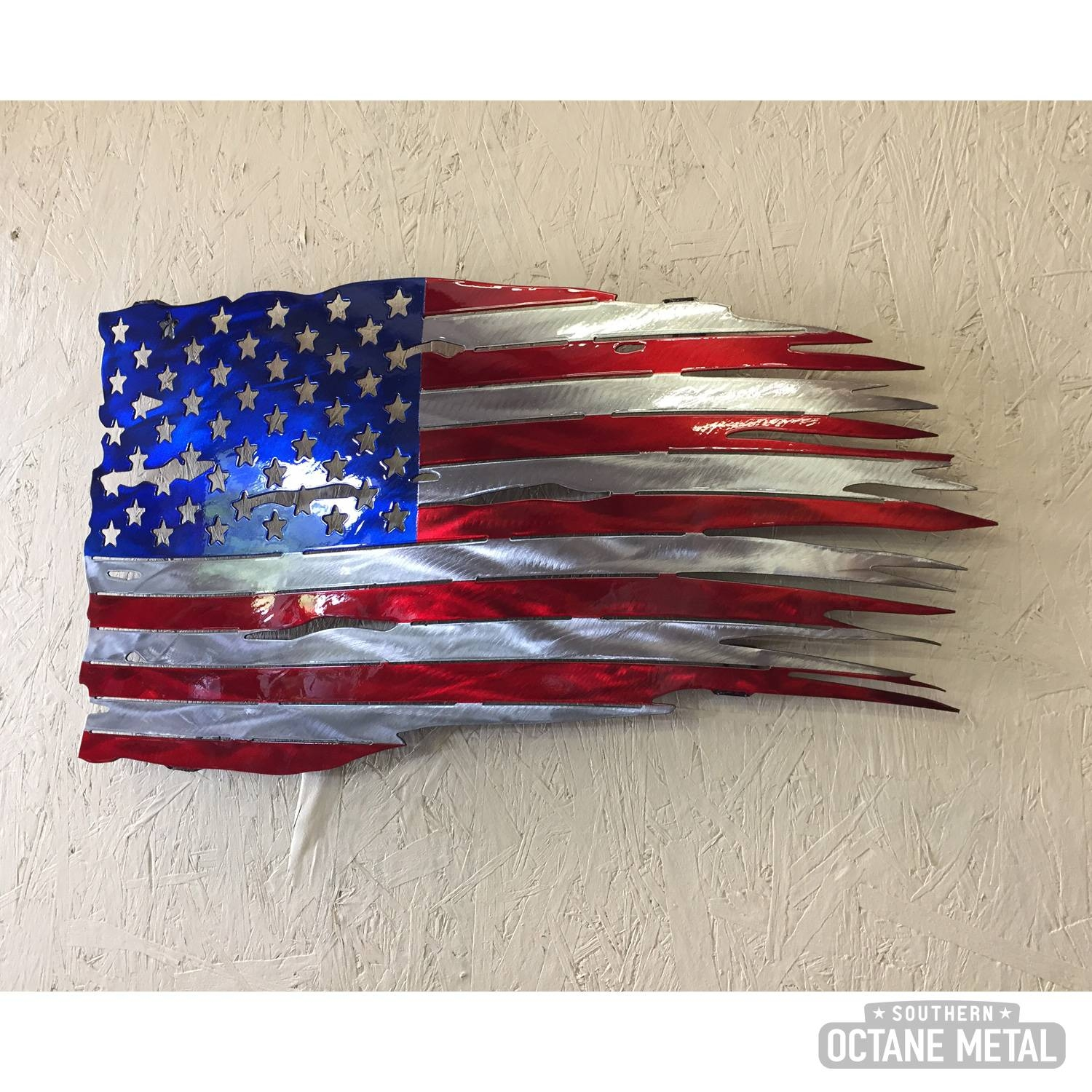 Tattered American Flag Metal Art – Southern Octane Metal Within Recent American Flag Metal Wall Art (View 6 of 20)