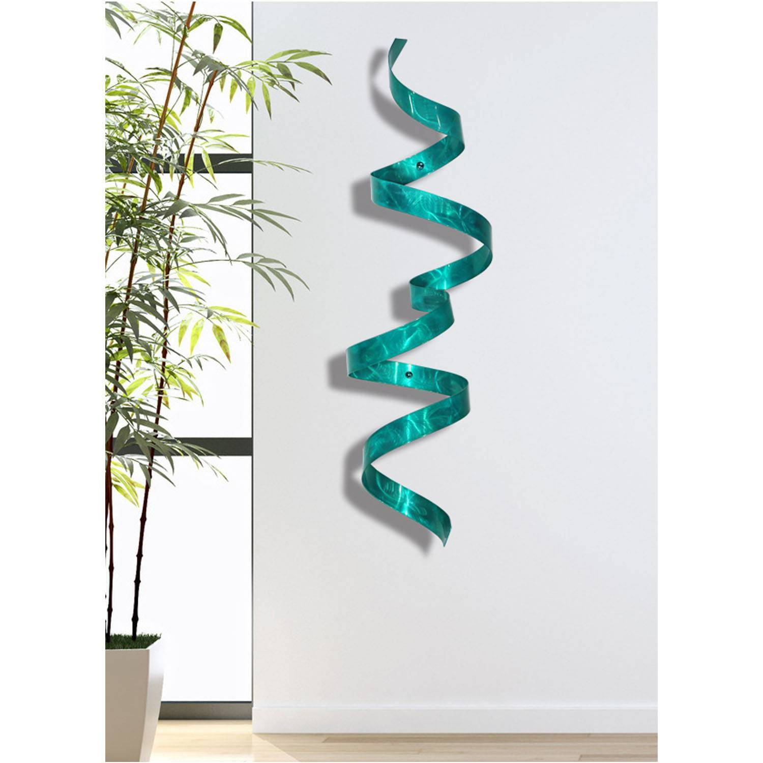 Teal Wall Twist – Blue 3D Abstract Twist Metal Wall Art Sculpture Regarding Best And Newest Teal Metal Wall Art (View 18 of 20)