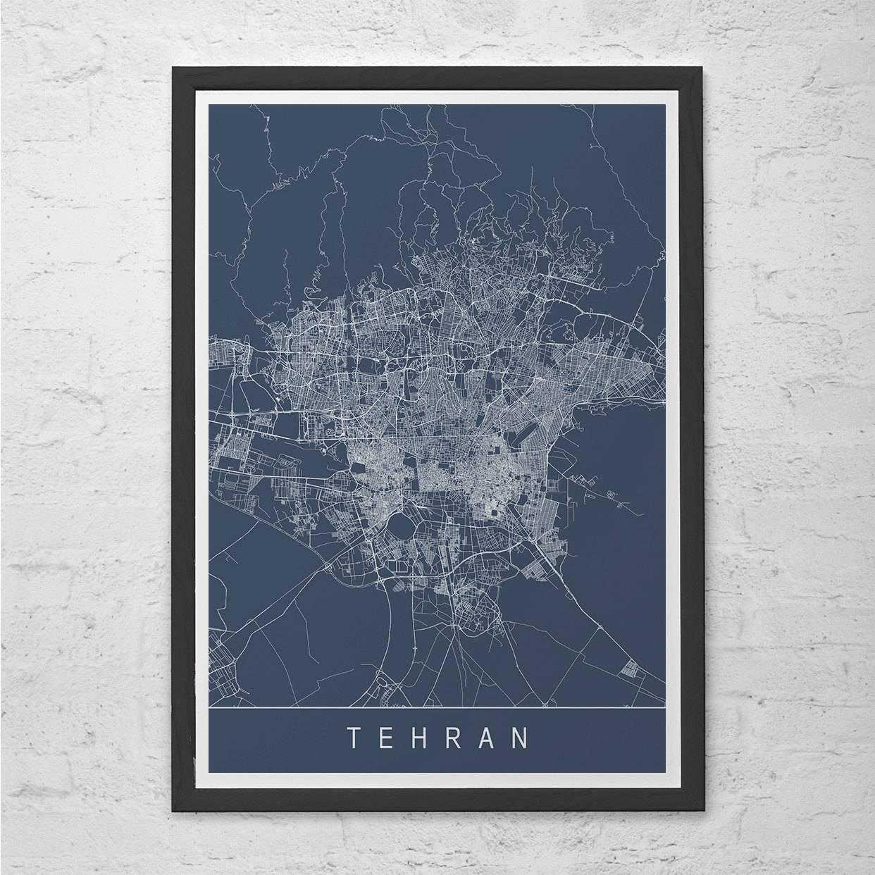 Tehran Map Print Modern City Print Art Customizable City For Newest City Map Wall Art (View 18 of 20)