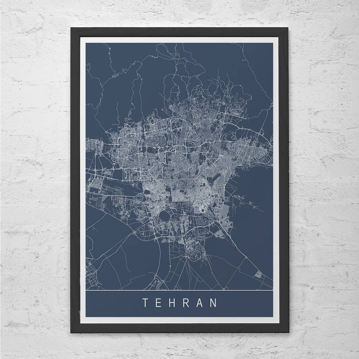 Tehran Map Print Modern City Print Art Customizable City Pertaining To Current City Prints Map Wall Art (Gallery 7 of 20)