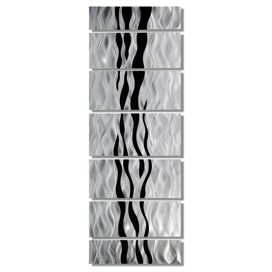 Terrific Silver Metal Tree Wall Art Modern Abstract Black Silver Inside 2017 Silver Metal Wall Art Flowers (View 12 of 20)