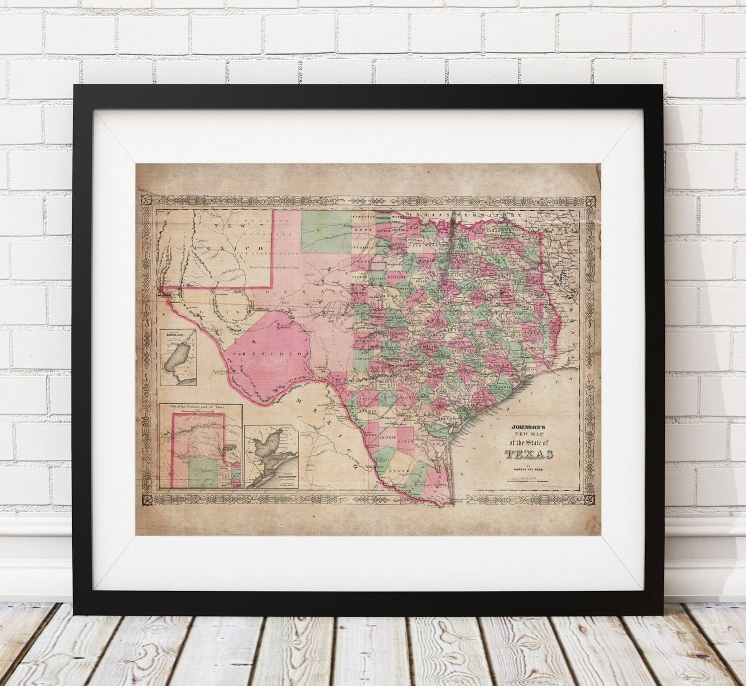 Texas Map Print, Vintage Map Art, Antique Map, Wall Art, Map Of Within Newest Texas Map Wall Art (View 15 of 20)