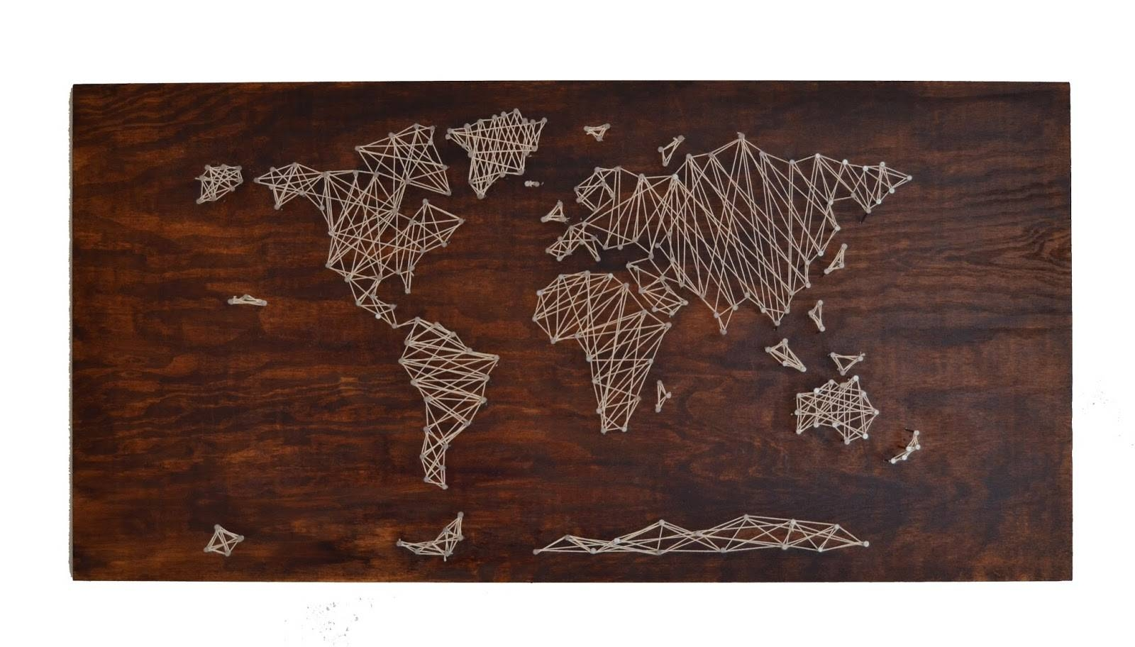 The Crafty Novice: Diy: String Art World Map Regarding Most Popular String Map Wall Art (View 10 of 20)