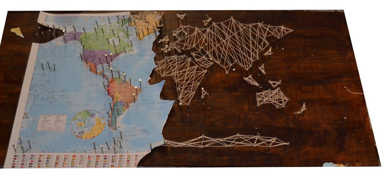 The Crafty Novice: Diy: String Art World Map With Regard To Best And Newest String Map Wall Art (View 3 of 20)