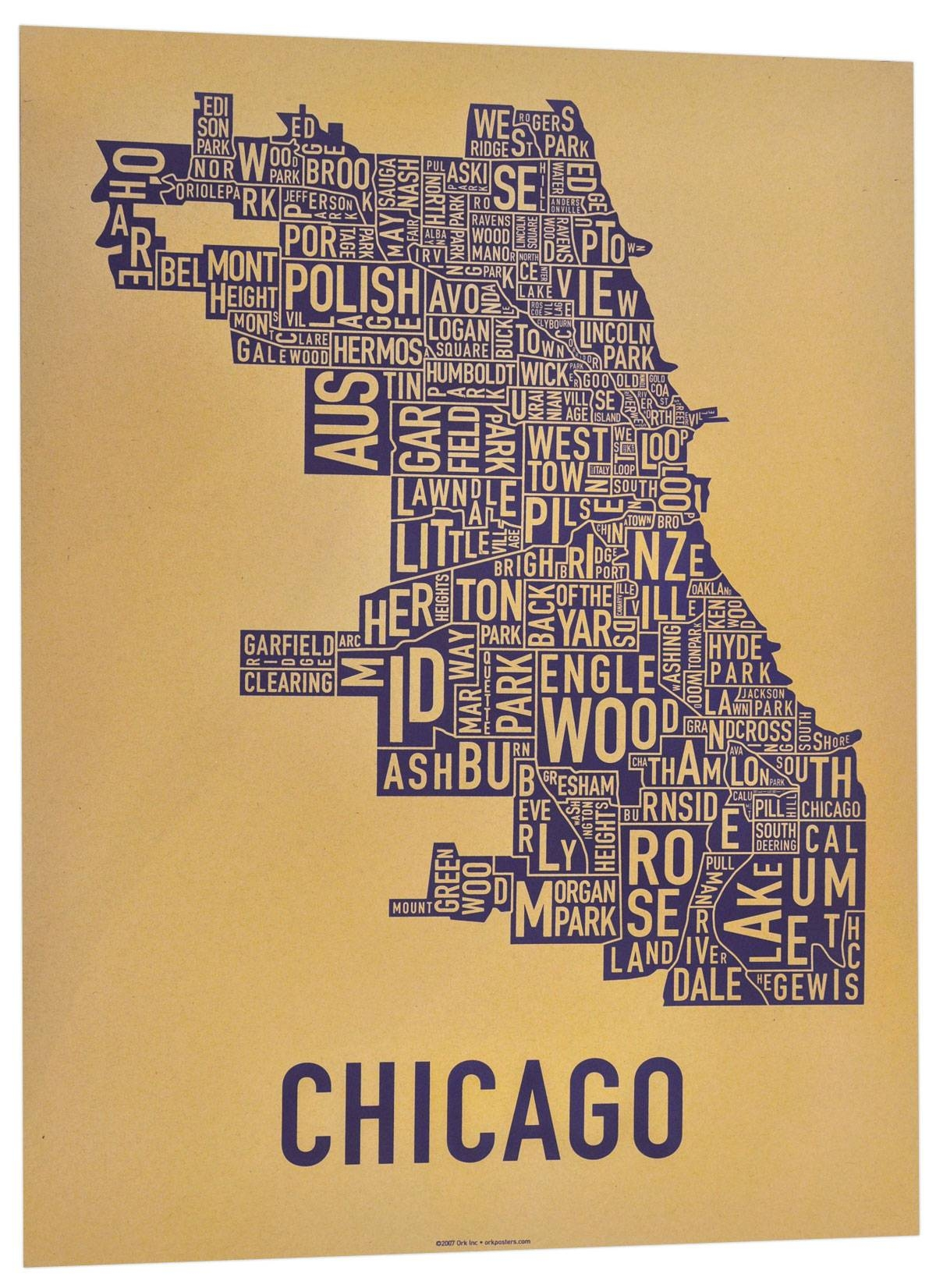 The Original Chicago Type Neighborhoods Map – Locally Made In Chicago! For Current Chicago Neighborhood Map Wall Art (View 7 of 20)