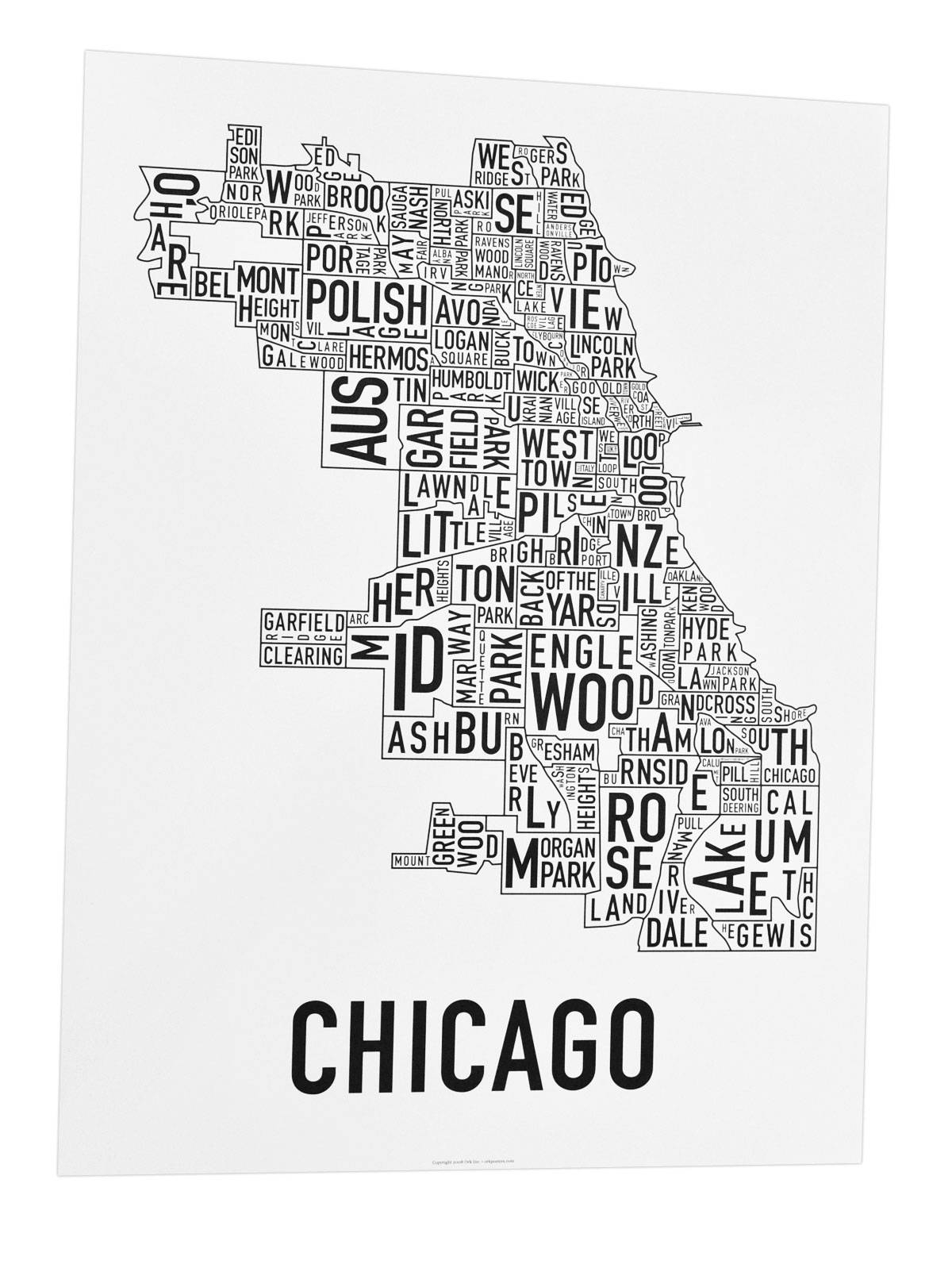 The Original Chicago Type Neighborhoods Map – Locally Made In Chicago! For Most Recently Released Chicago Neighborhood Map Wall Art (View 17 of 20)