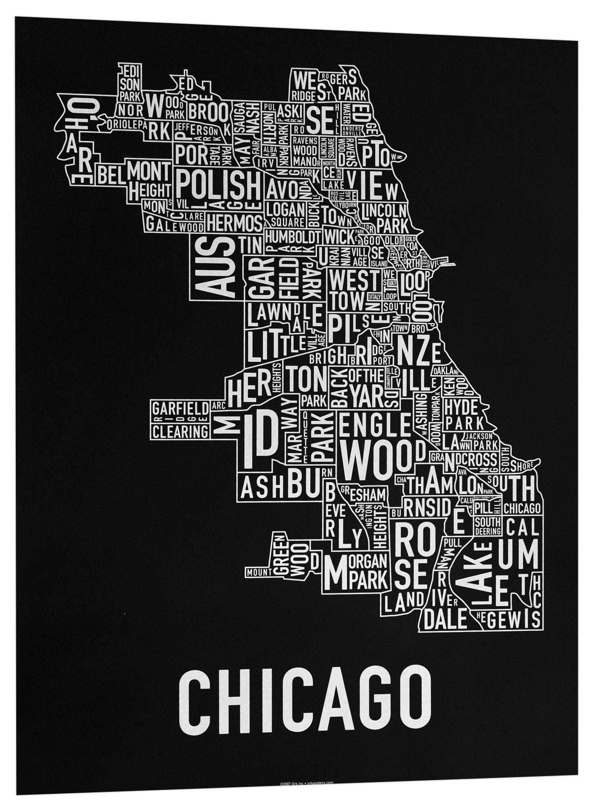 The Original Chicago Type Neighborhoods Map – Locally Made In Chicago! Inside 2018 Chicago Map Wall Art (View 20 of 20)