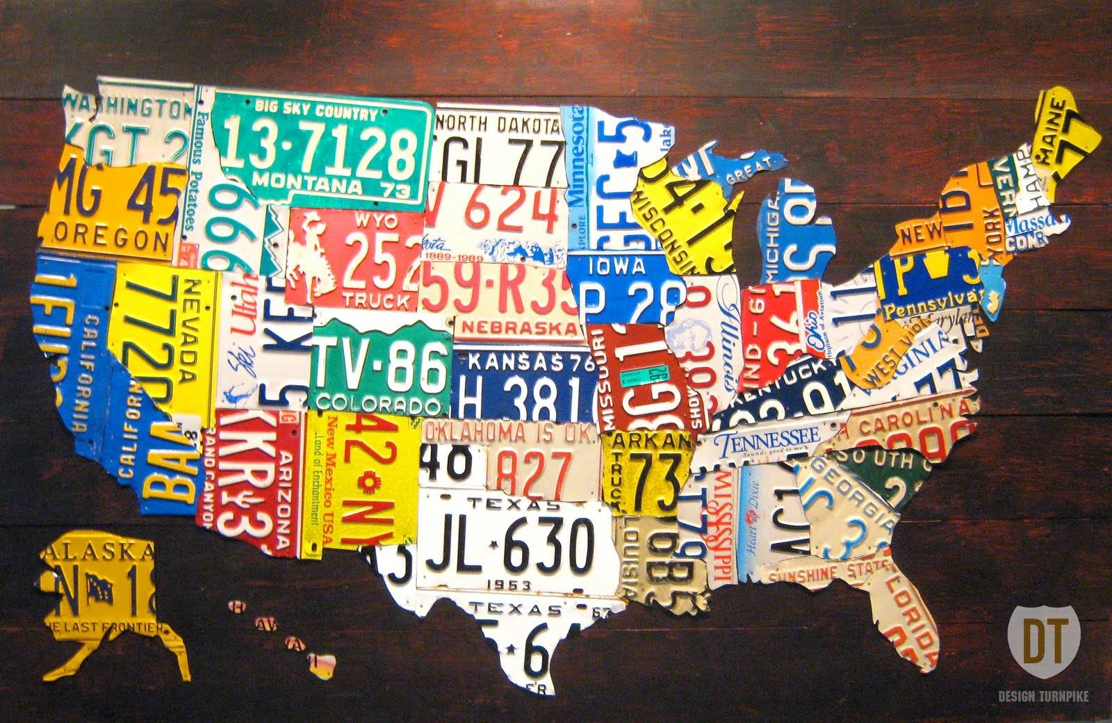 "The Tin Snip Times: Now Selling: 60"" License Plate Map Of The In 2017 License Plate Map Wall Art (View 18 of 20)"