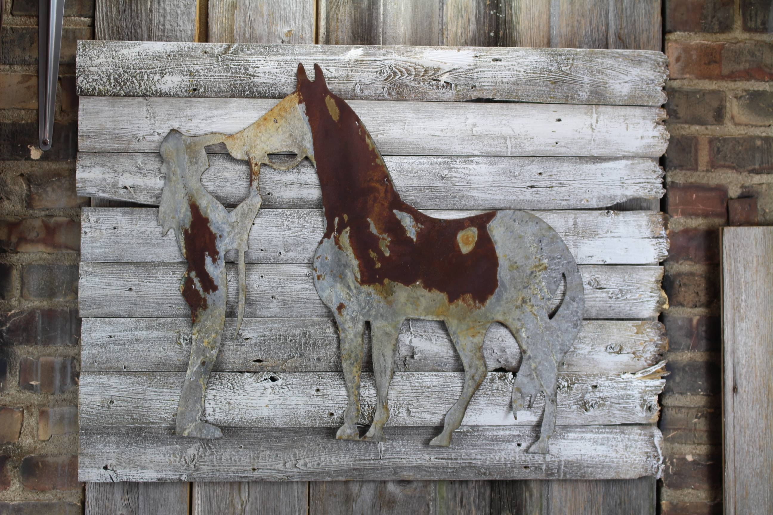 Thin Rusty Metal Horse And Trainer  Shape Only – Rustic Metal Throughout 2018 Horse Metal Wall Art (View 16 of 20)
