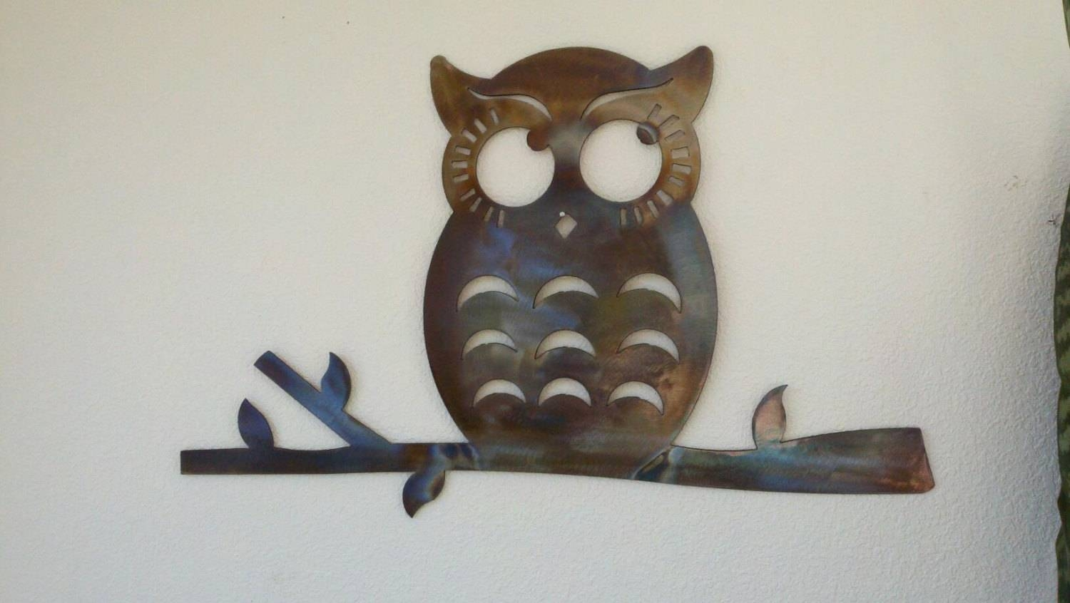 Thoughtful Owl Recycled Metal Wall Art Colored Patina For Newest Owls Metal Wall Art (View 17 of 20)