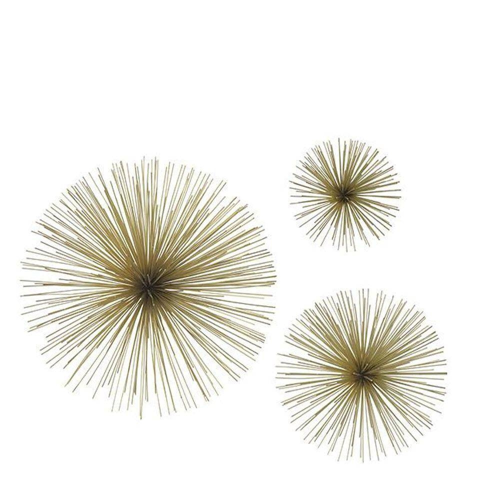 Three Hands Assorted Metal Gold Star Bursts Wall Art (Set Of 3 Pertaining To Latest Metal Wall Art Sets (Gallery 19 of 20)