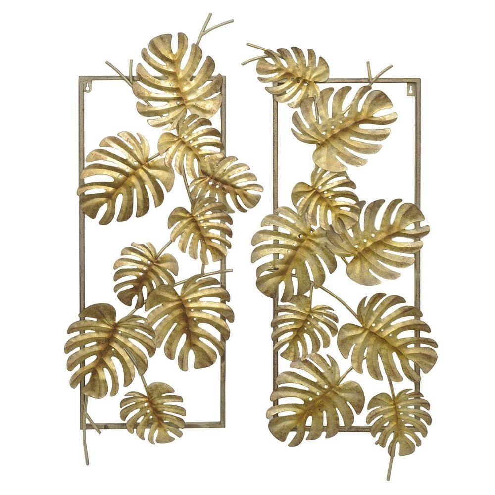 Elegant Three Hands Gold Metal Tropical Leaves Wall Decor (Set Of 2) 10118 Inside  Newest