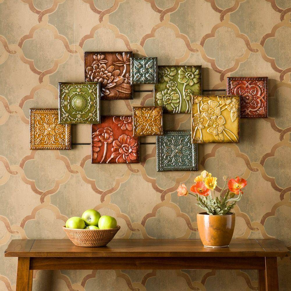 Three Hands Square Medallion Wall Art 57521 – The Home Depot Regarding Latest Multi Color Metal Wall Art (View 18 of 20)