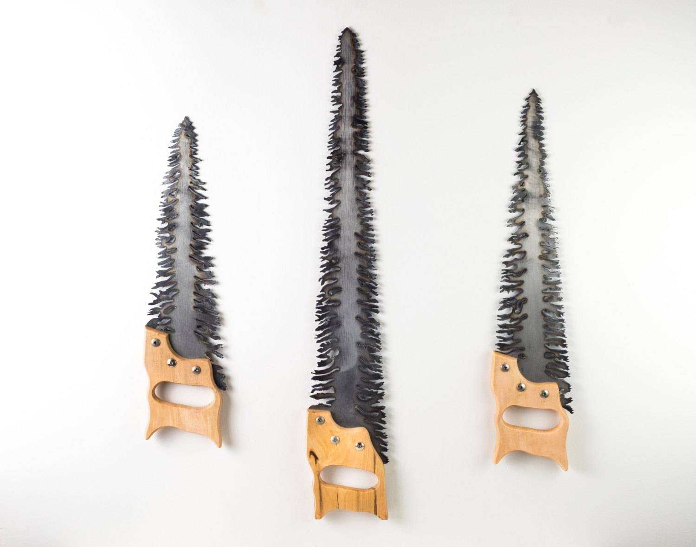Three Tree Saws Tree Wall Hangings Plasma Cut Metal Wall For Most Current Plasma Cut Metal Wall Art (View 14 of 20)