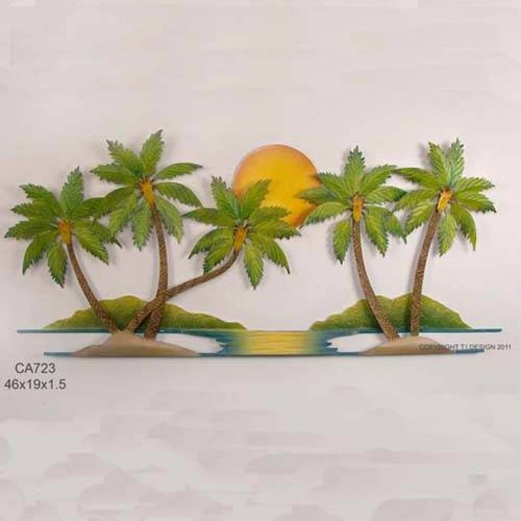 Tiki Surf Shack Handcrafted Metal Wall Hanging | Outside Ideas For Most Up To Date Metal Wall Art Palm Trees (View 8 of 20)
