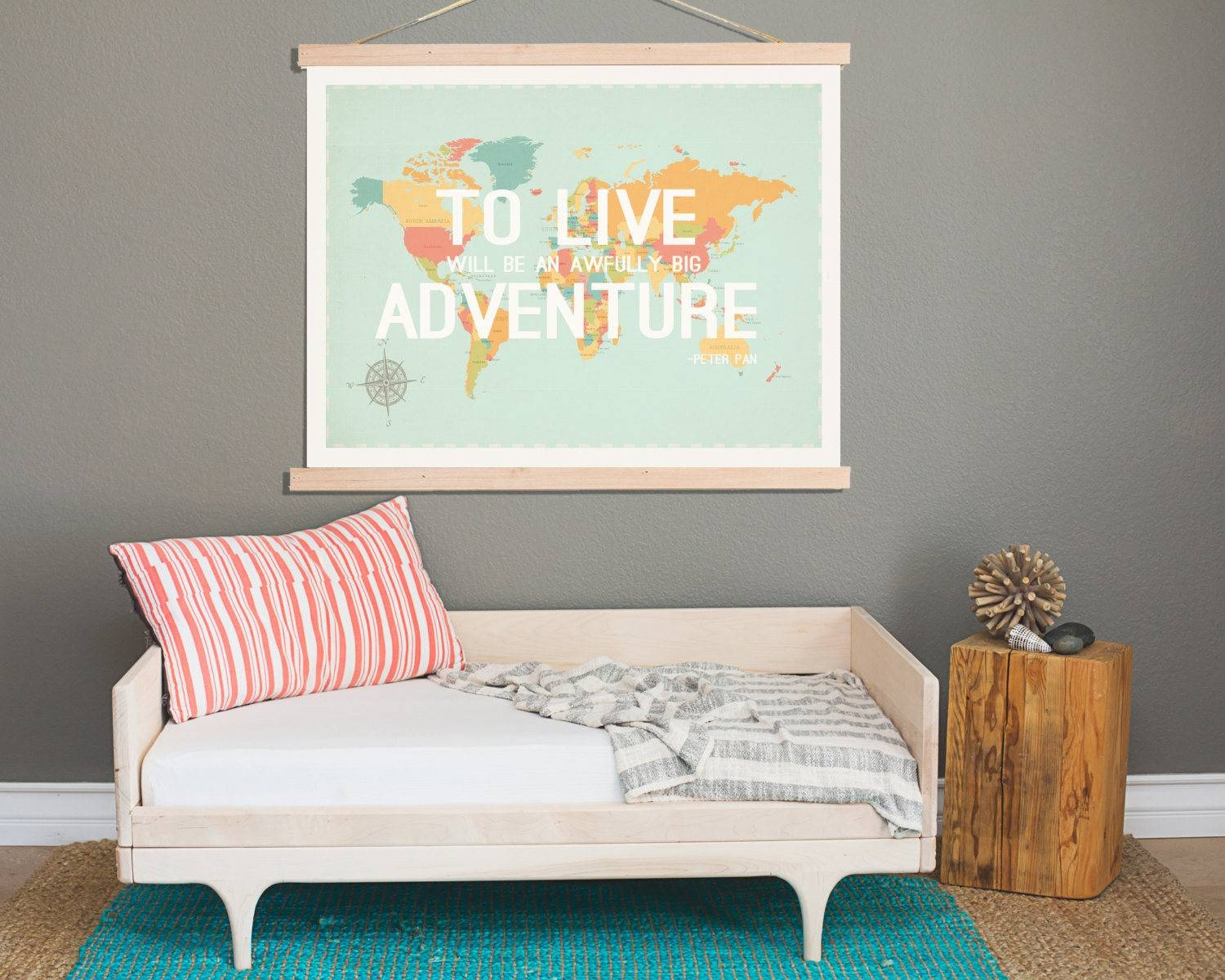 To Live World Map Wall Art Canvas Tapestry 24X18 Or 36X24 Intended For Latest Kids World Map Wall Art (View 16 of 20)