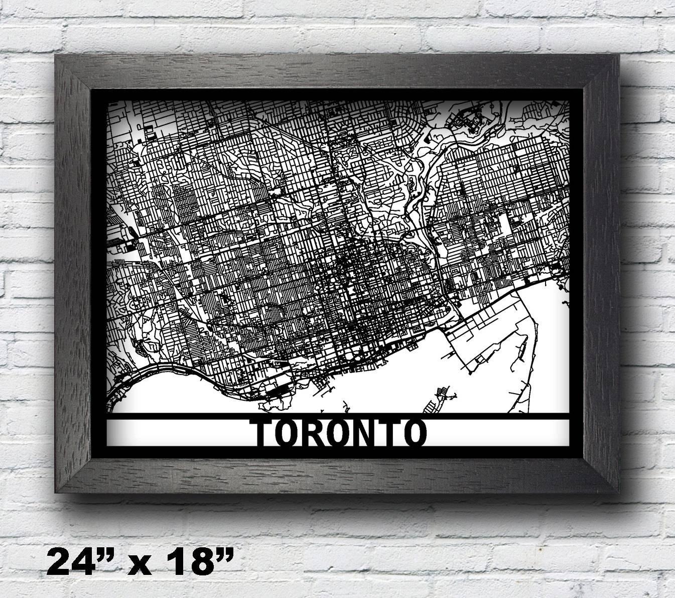 Toronto Canada Map Framed Laser Cut Map Toronto Wall Art Regarding 2018 Toronto Map Wall Art (Gallery 8 of 20)