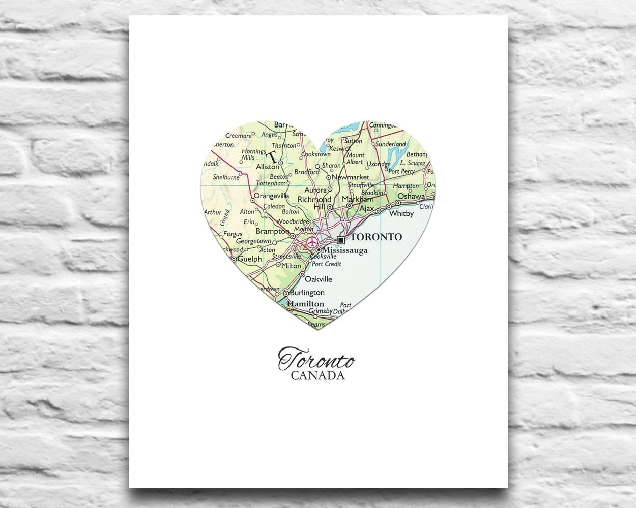 Toronto Canada Vintage Heart Map Digital Download For You 2 In Most Recently Released Toronto Map Wall Art (Gallery 17 of 20)