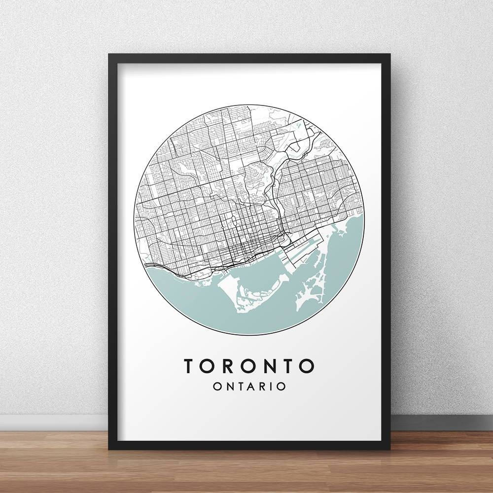 Toronto City Print Street Map Art Toronto Map Poster With Recent Toronto Map Wall Art (View 5 of 20)