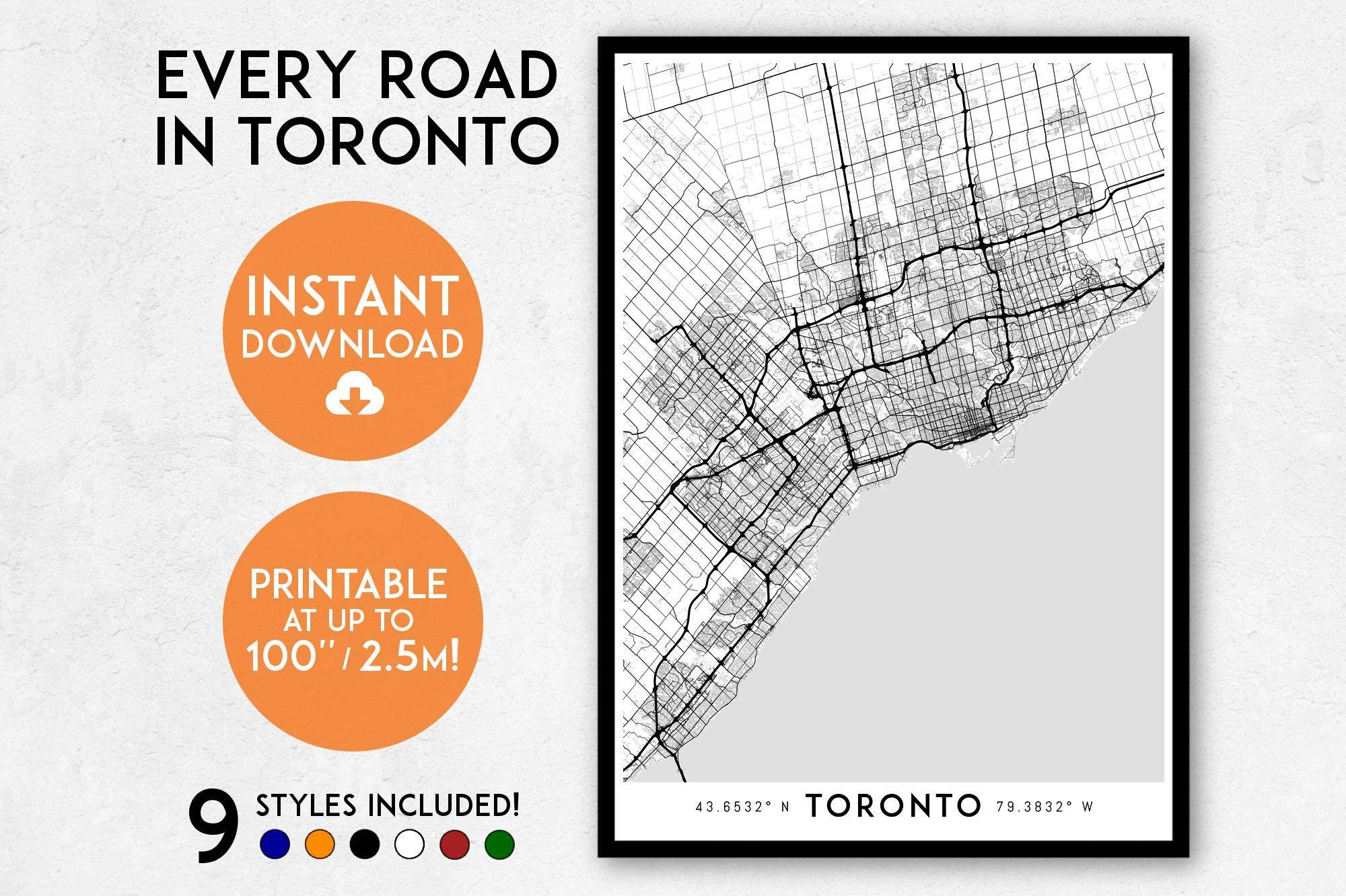 Toronto Map Art Printable Canada Map Print Printable Toronto Inside Most Current Toronto Map Wall Art (View 8 of 20)