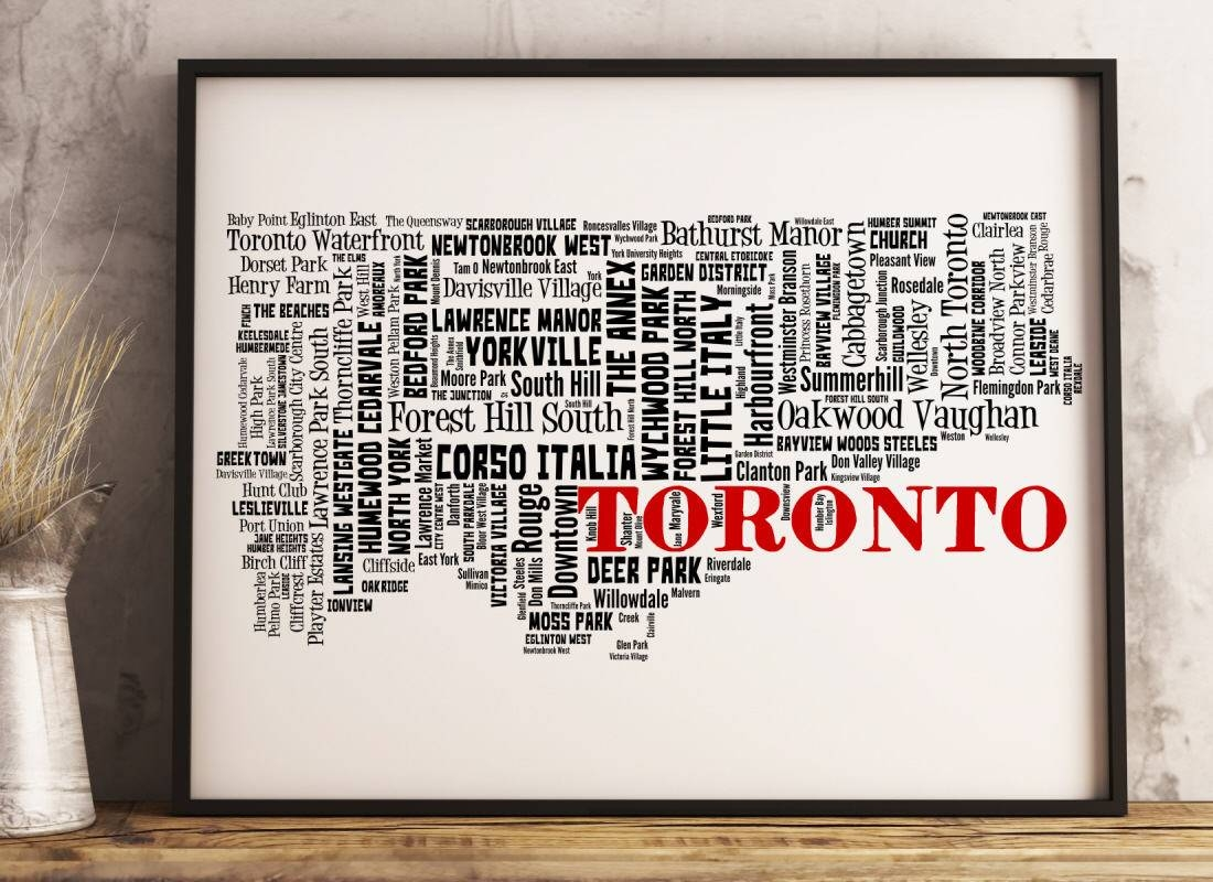Toronto Map Art Toronto Art Print Toronto Neighborhood Map With 2017 Toronto Map Wall Art (Gallery 9 of 20)
