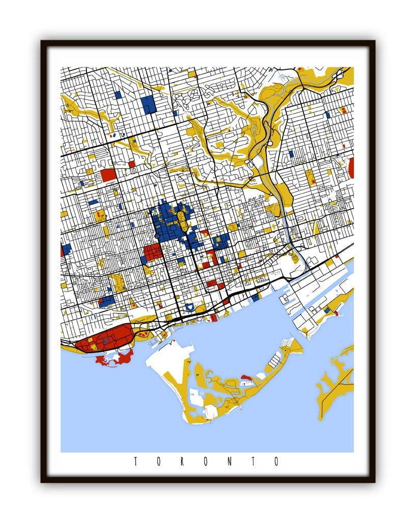 Toronto Map Art / Toronto Canada Wall Art / Print / Poster / Inside 2017 Toronto Map Wall Art (View 6 of 20)