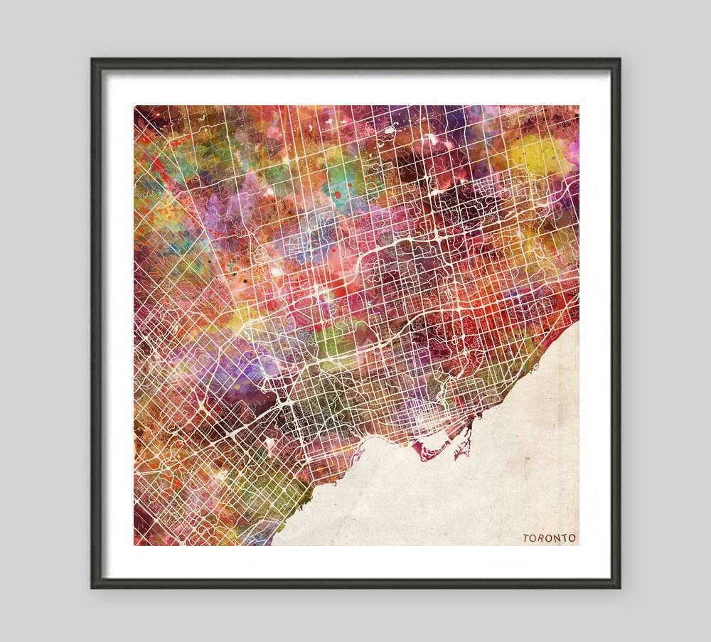 Toronto Map Canada Watercolor Painting Old Paper Giclee Intended For Most Recent Map Wall Art Toronto (View 3 of 20)
