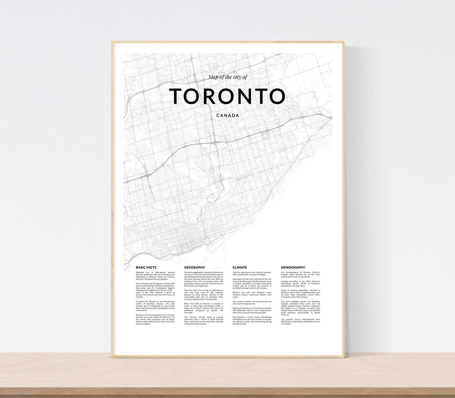 Toronto Map Print City Map Of Toronto Toronto Map Wall Art Within Recent Map Wall Art Toronto (View 11 of 20)