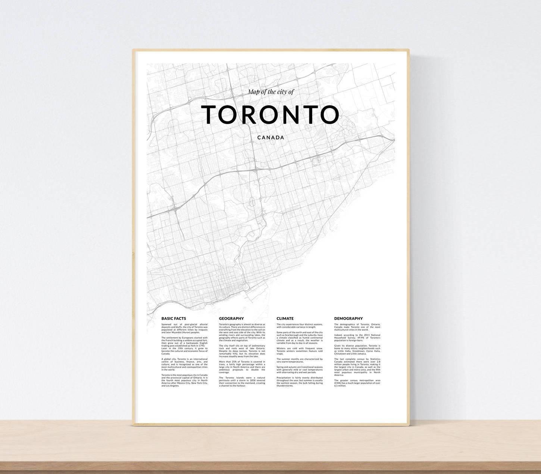 Toronto Map Print City Map Of Toronto Toronto Map Wall Art Within Recent Map Wall Art Toronto (View 9 of 20)
