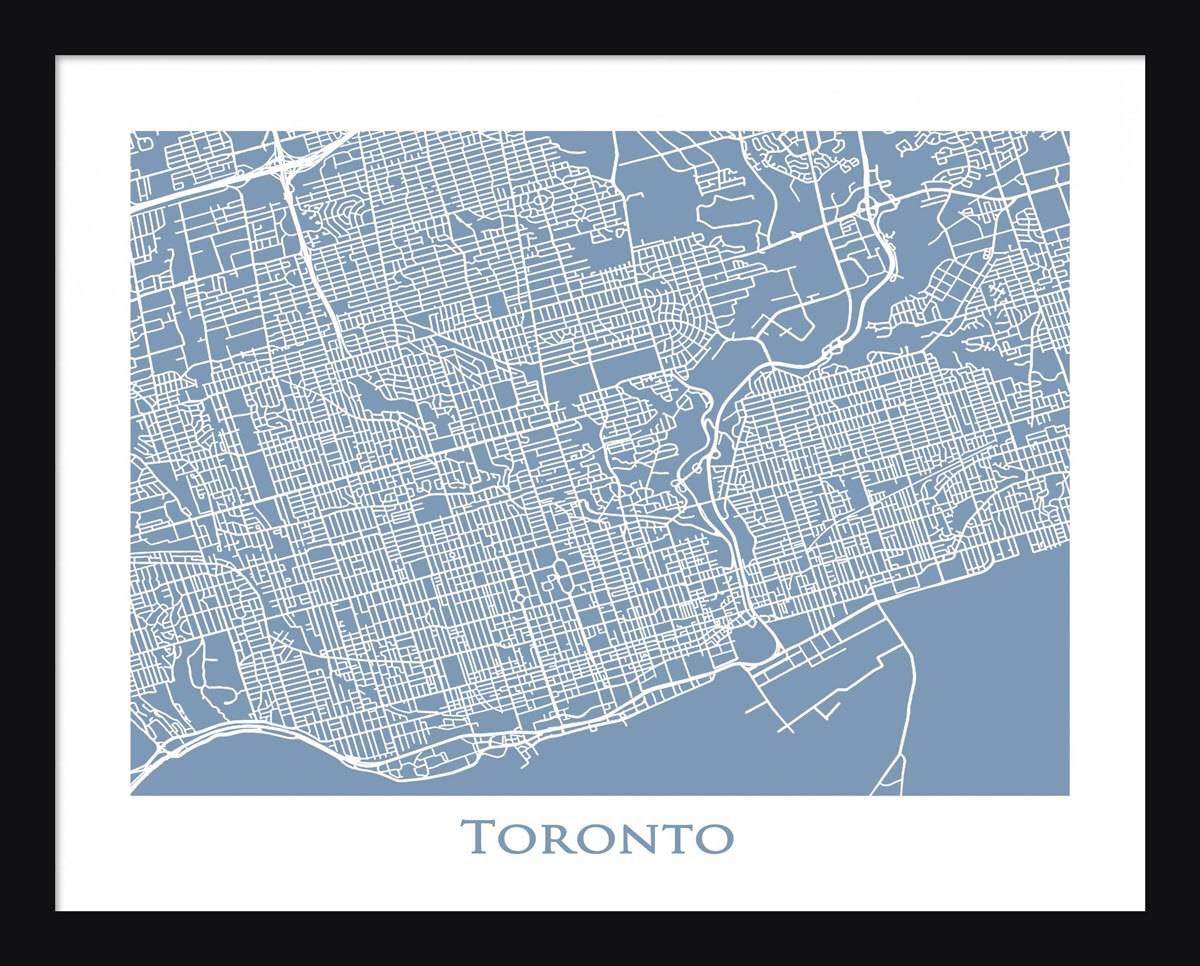 Toronto Map Print Toronto Wall Art Poster Title Map With Regard To 2018 Toronto Map Wall Art (Gallery 13 of 20)