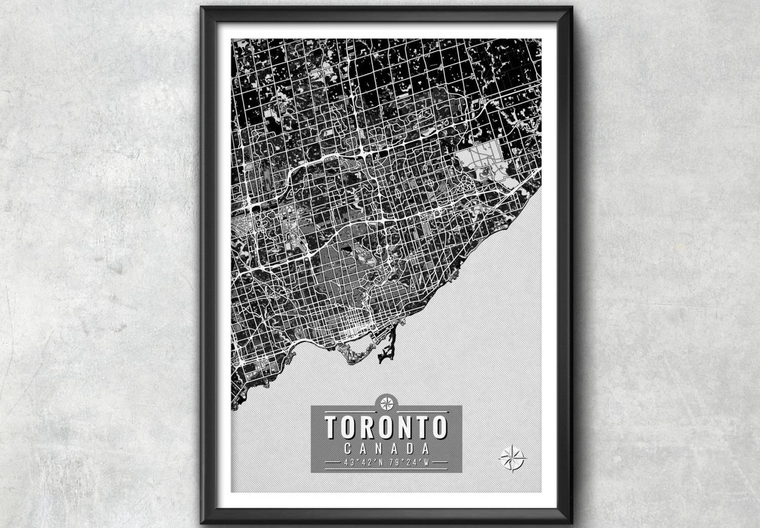 Toronto Map With Coordinates Toronto Map Toronto Wall Art For Most Current Map Wall Art Toronto (View 4 of 20)