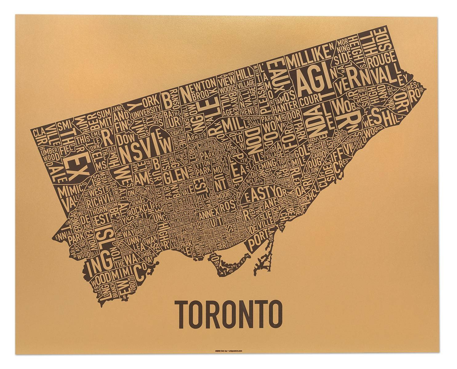 Toronto Neighborhood Map Posters & Prints – Display Your Love Of Inside Newest Toronto Map Wall Art (View 2 of 20)