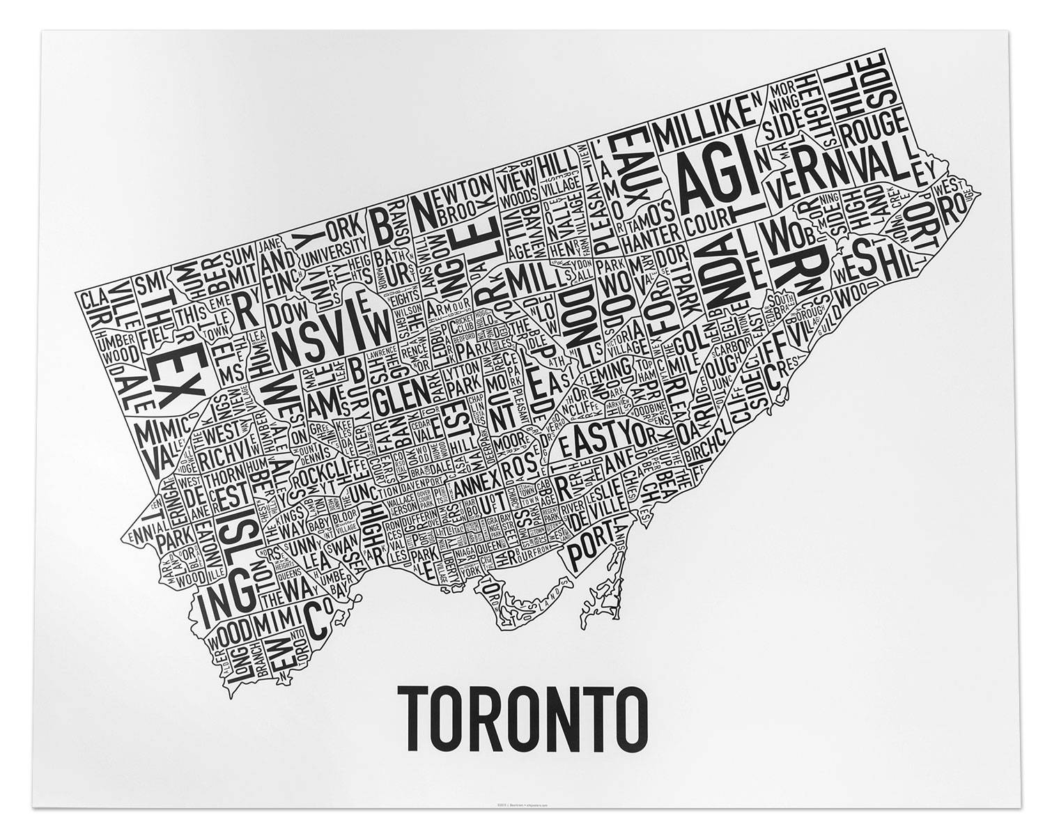 Toronto Neighborhood Map Posters & Prints – Display Your Love Of Intended For Current Map Wall Art Toronto (View 2 of 20)