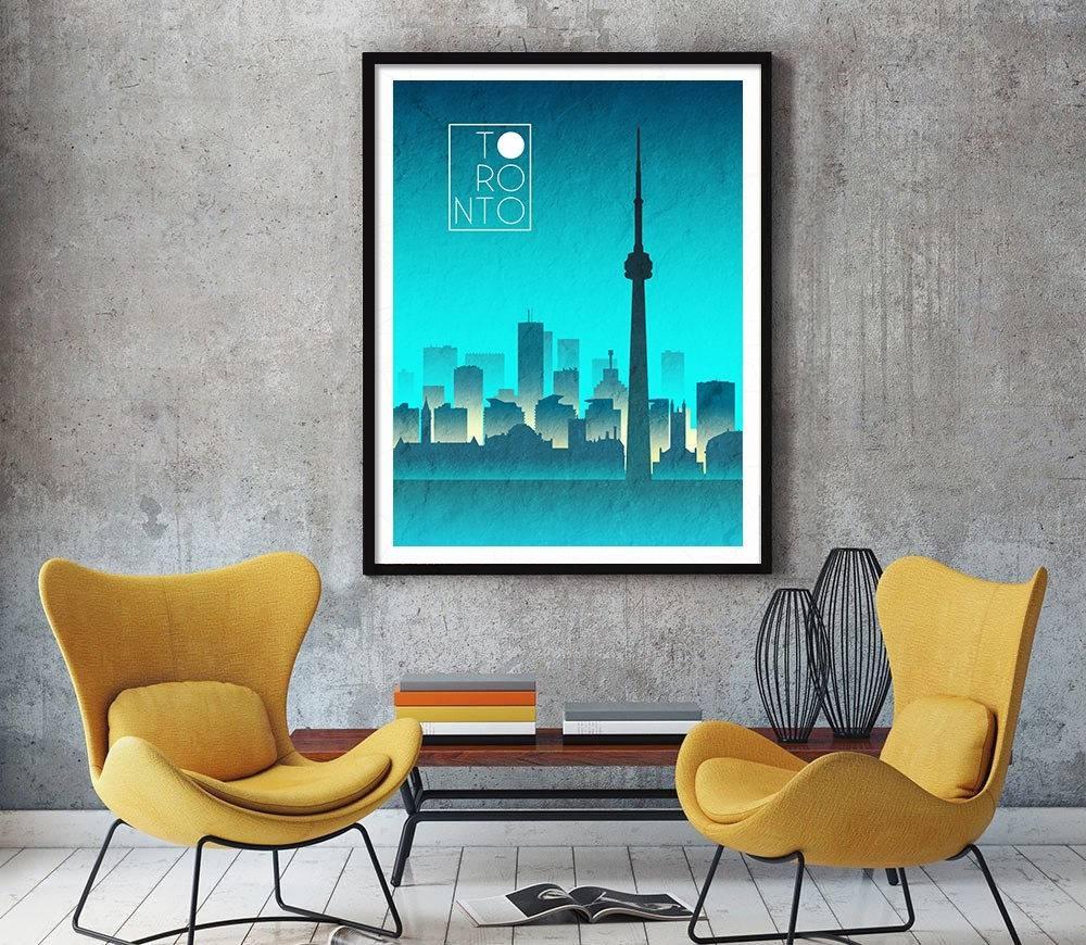 Toronto Night Skyline Art Toronto Art Toronto Skyline Toronto Intended For Latest Map Wall Art Toronto (View 14 of 20)