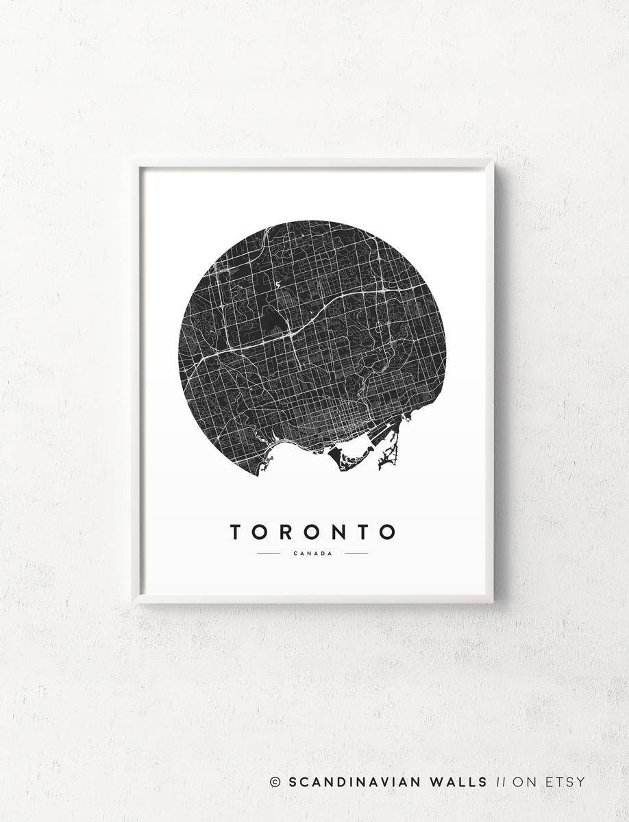 Toronto Print Toronto Map Toronto Poster Toronto City Map With Recent Map Wall Art Toronto (View 16 of 20)