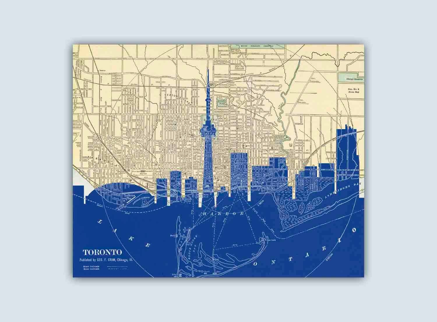 Toronto Skyline Toronto Art Print Toronto Decor Regarding Best And Newest Map Wall Art Toronto (View 17 of 20)