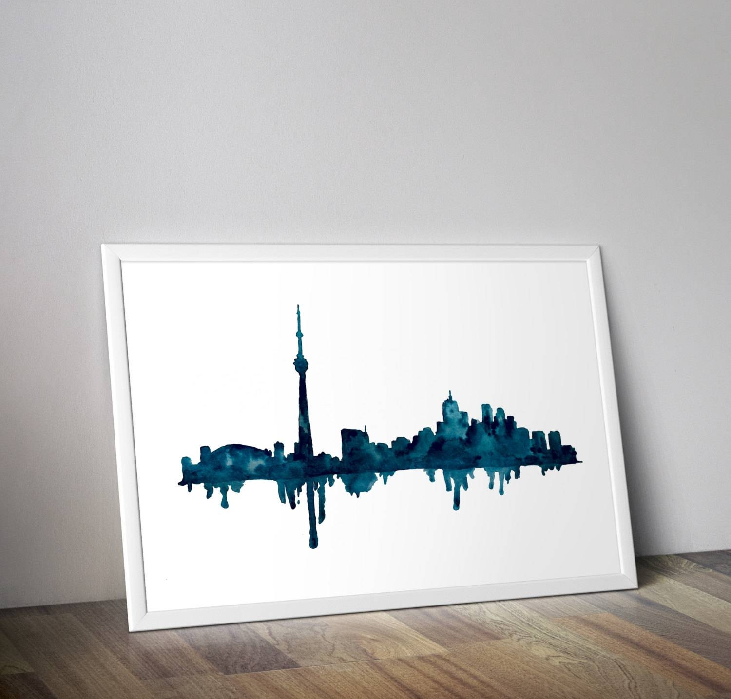 Toronto Skyline Toronto Art Watercolor Cityscape Cityscape Throughout Best And Newest Map Wall Art Toronto (View 5 of 20)