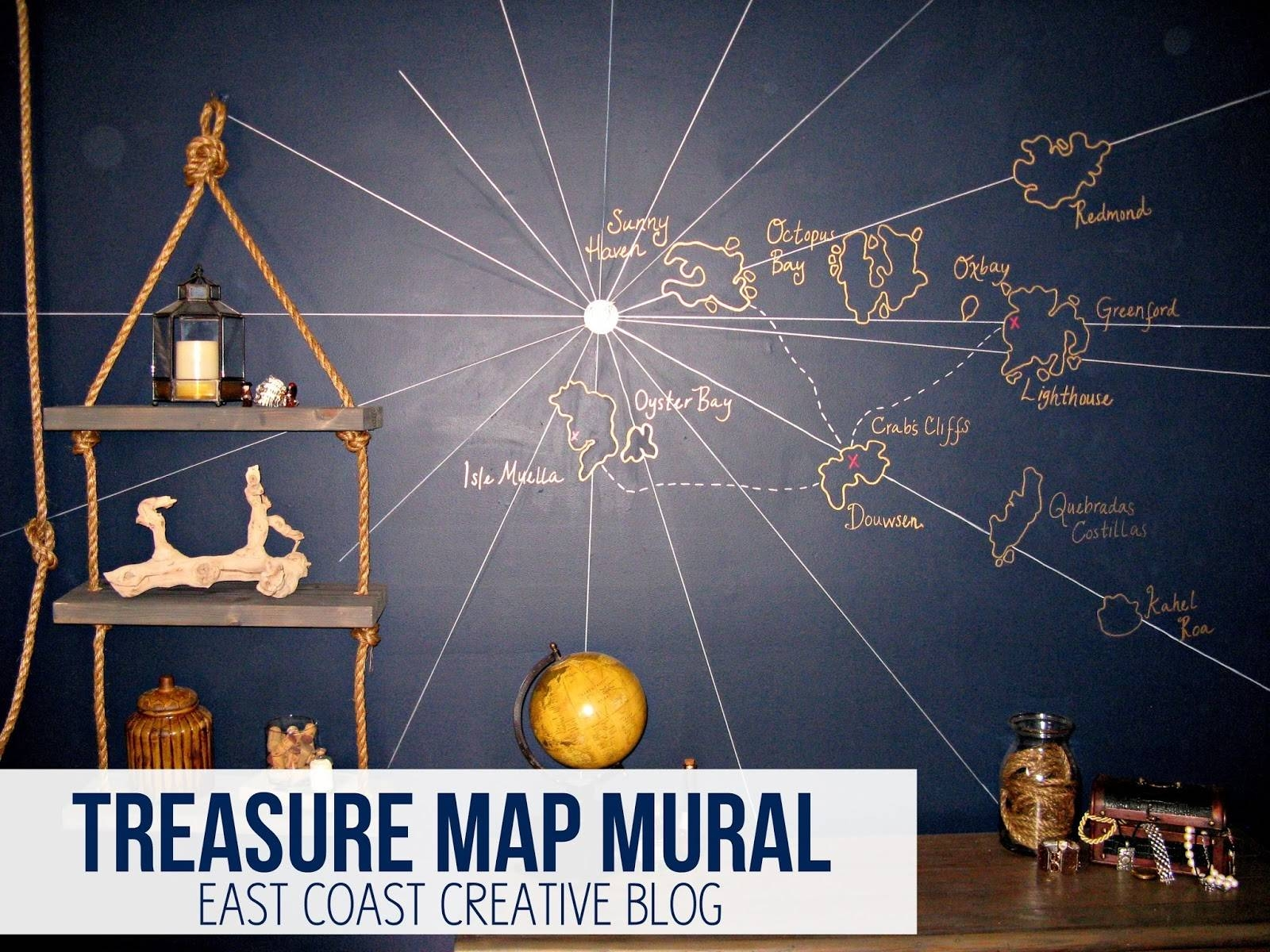 Treasure Map Wall Mural {Knock It Off Diy Project} – East Coast Within Current Treasure Map Wall Art (View 15 of 20)