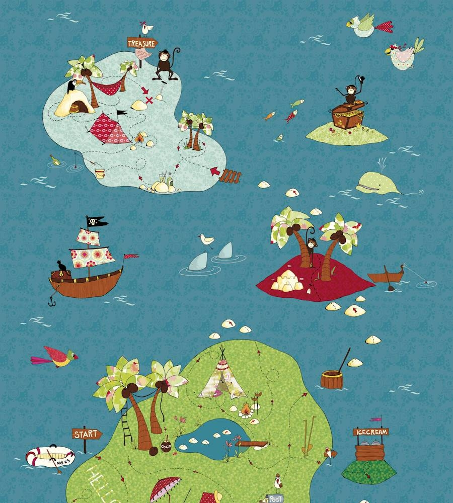 Treasure Map Wallpapermr Perswall | Jane Clayton Within Newest Treasure Map Wall Art (View 9 of 20)