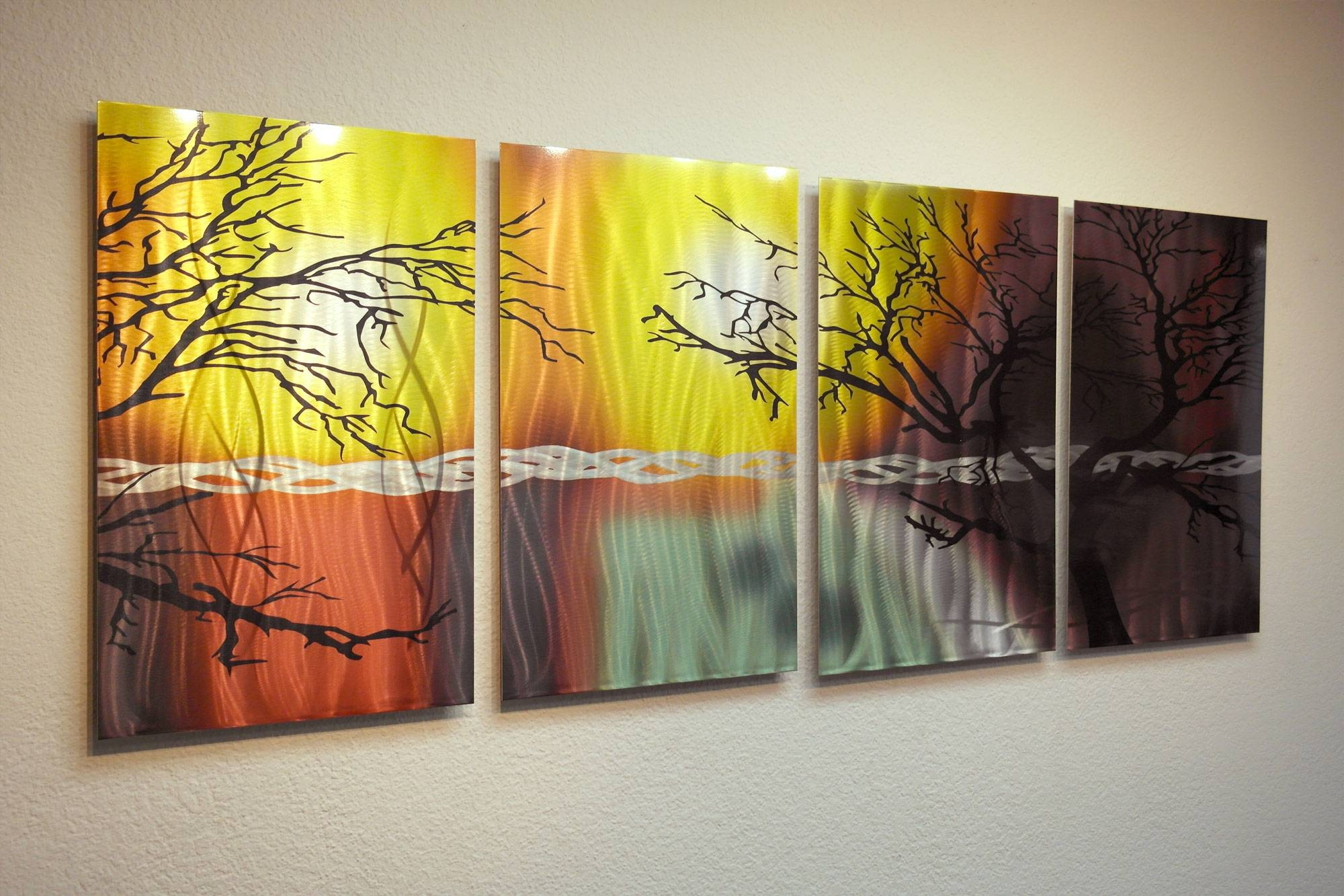 Tree In Silhouette  Abstract Metal Wall Art Contemporary Modern For Most Popular Painted Metal Wall Art (View 16 of 20)