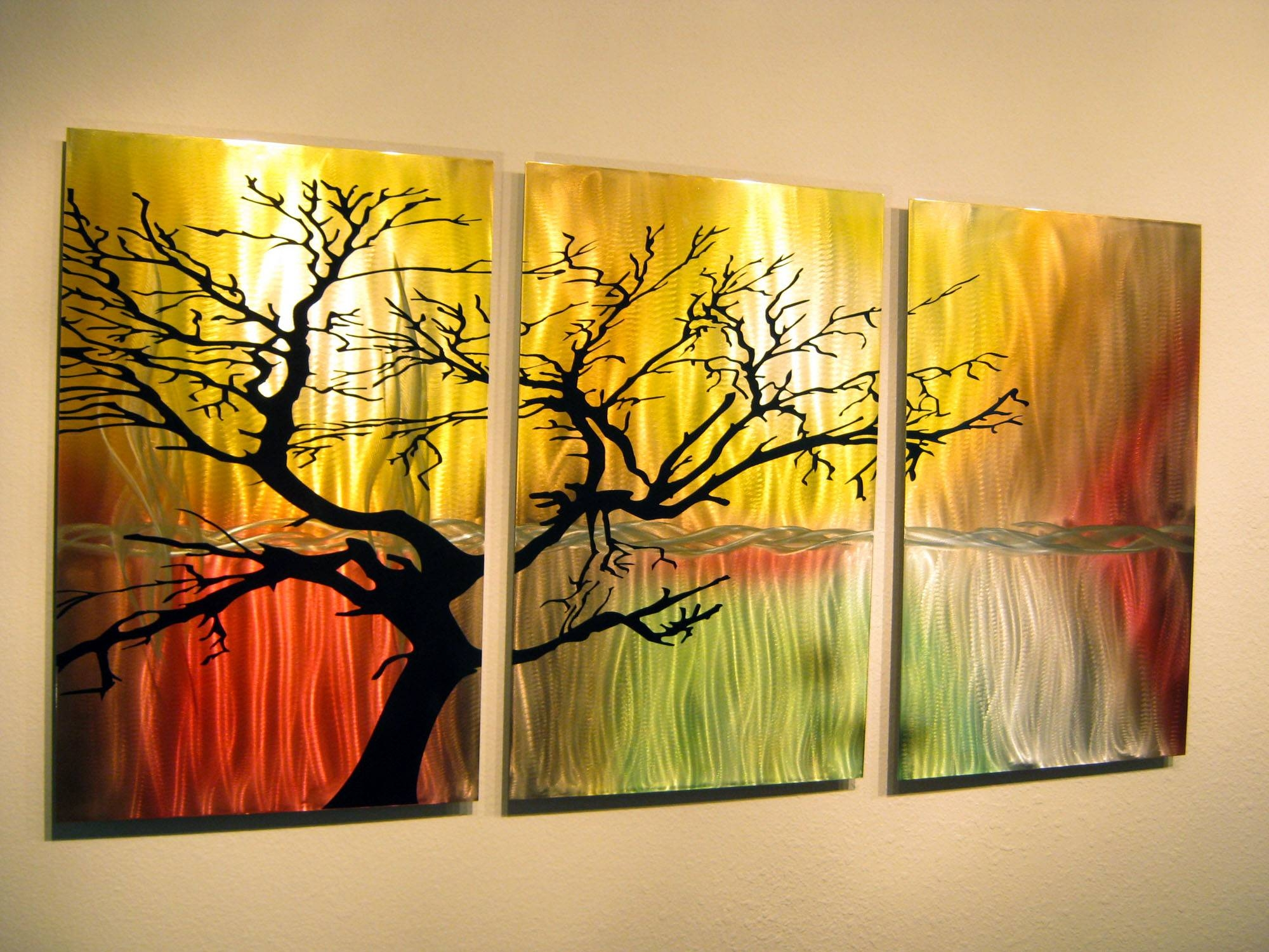 Tree In Silhouette  Metal Wall Art Contemporary Modern Decor  3 Inside Newest Painting Metal Wall Art (View 15 of 20)
