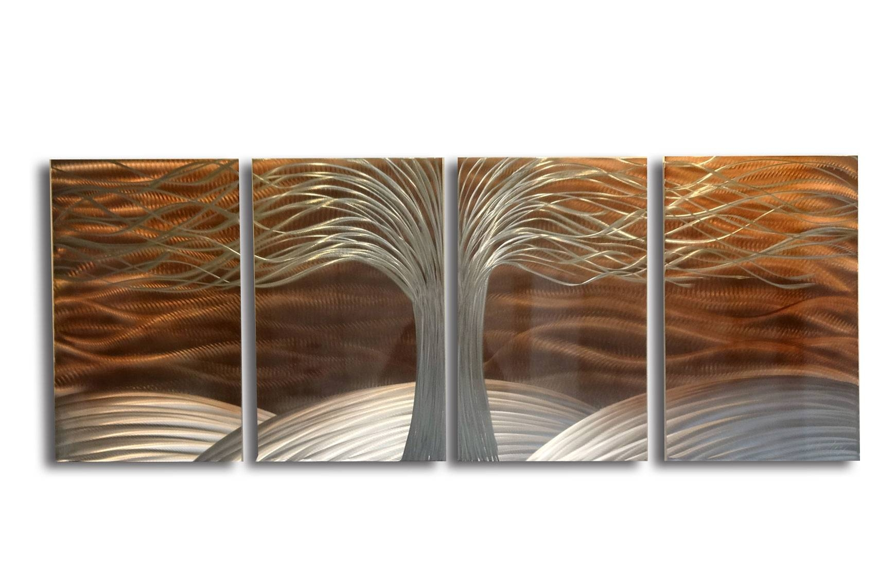 Tree Of Life Burnt Copper  Metal Wall Art Abstract Contemporary With Most Recently Released Orange Metal Wall Art (View 19 of 20)