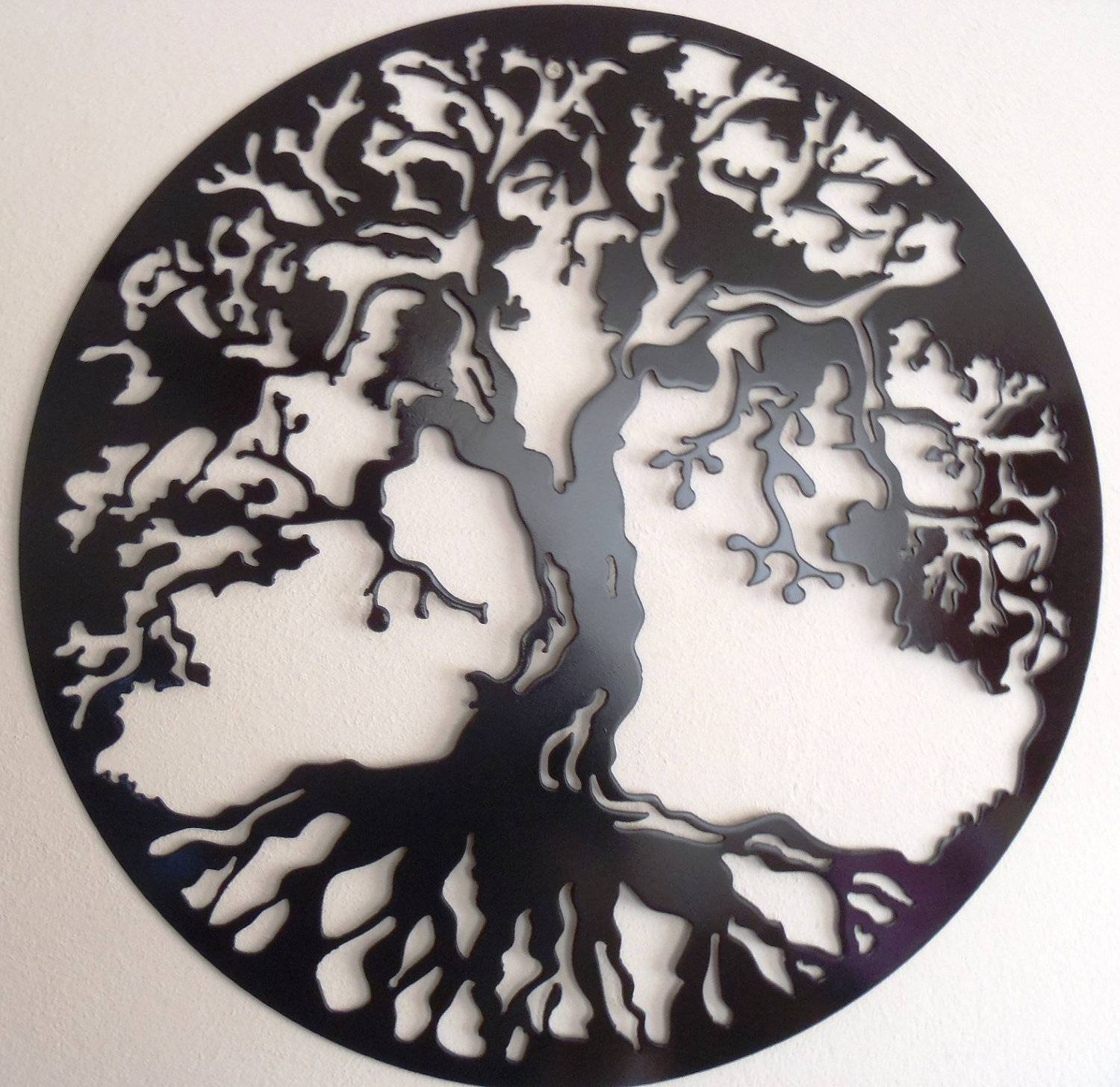 Tree Of Life Wall Decor Metal Art Black Inside Best And Newest Large Tree Of Life Metal Wall Art (View 15 of 20)
