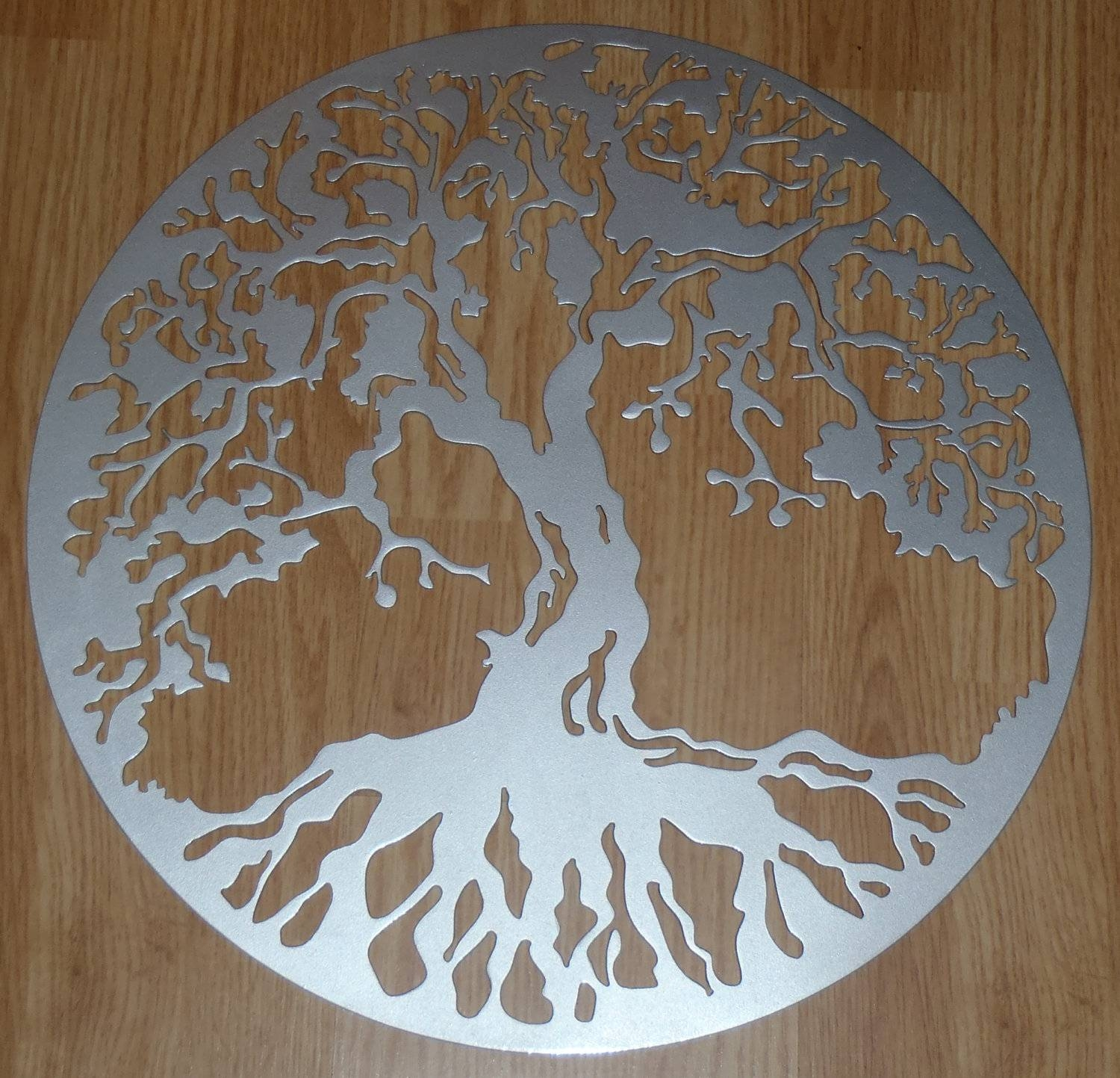 Tree Of Life Wall Decor Metal Art Silver Look Inside Cur Large