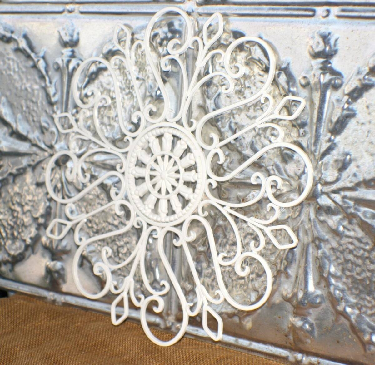 Trendy Idea White Metal Wall Decor Antique Decorations Star Floral In Most Recently Released Antique Metal Wall Art (View 9 of 20)