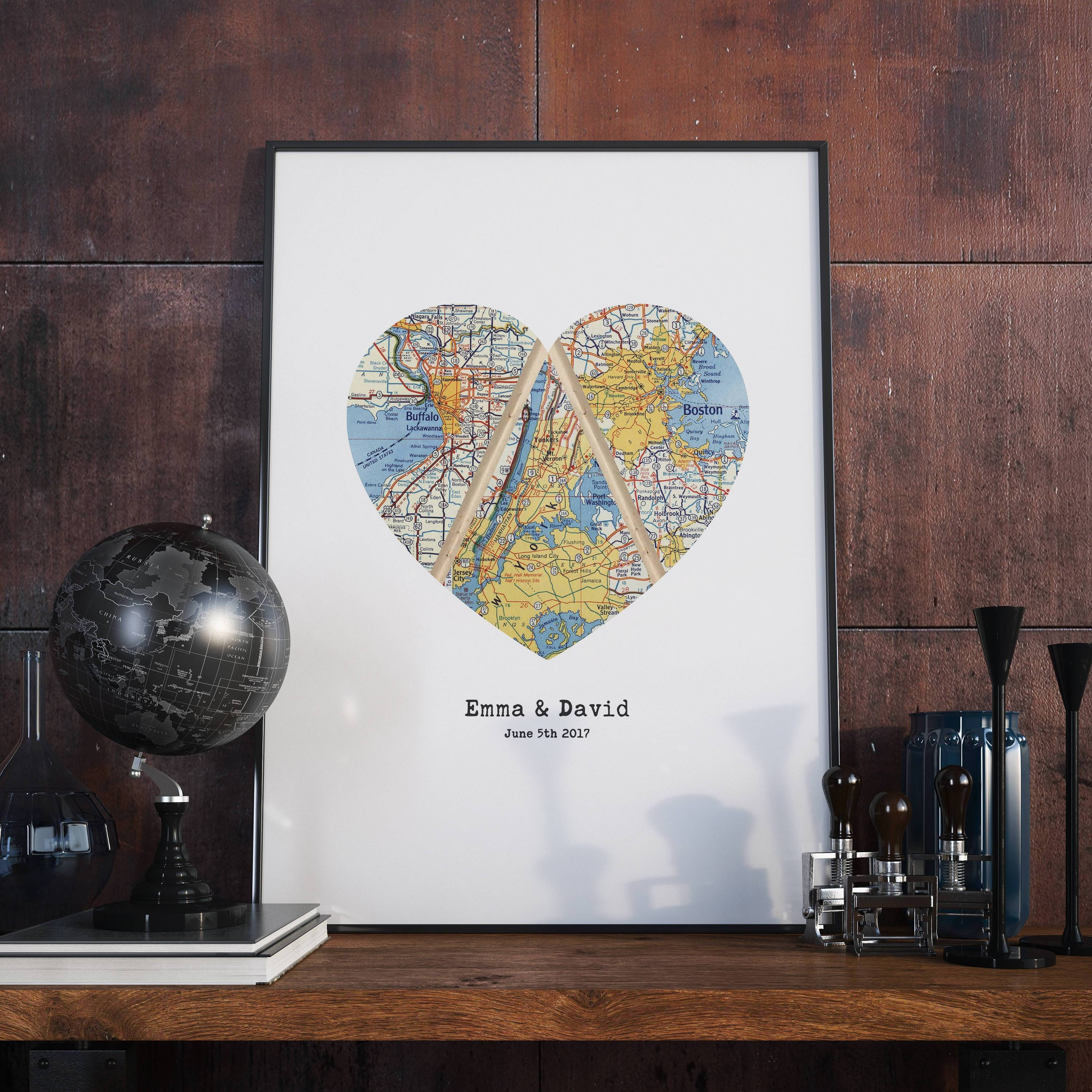 Triple Map Heart Art Unique Wedding Gift For Couple Heart Inside 2018 Personalized Map Wall Art (Gallery 1 of 20)
