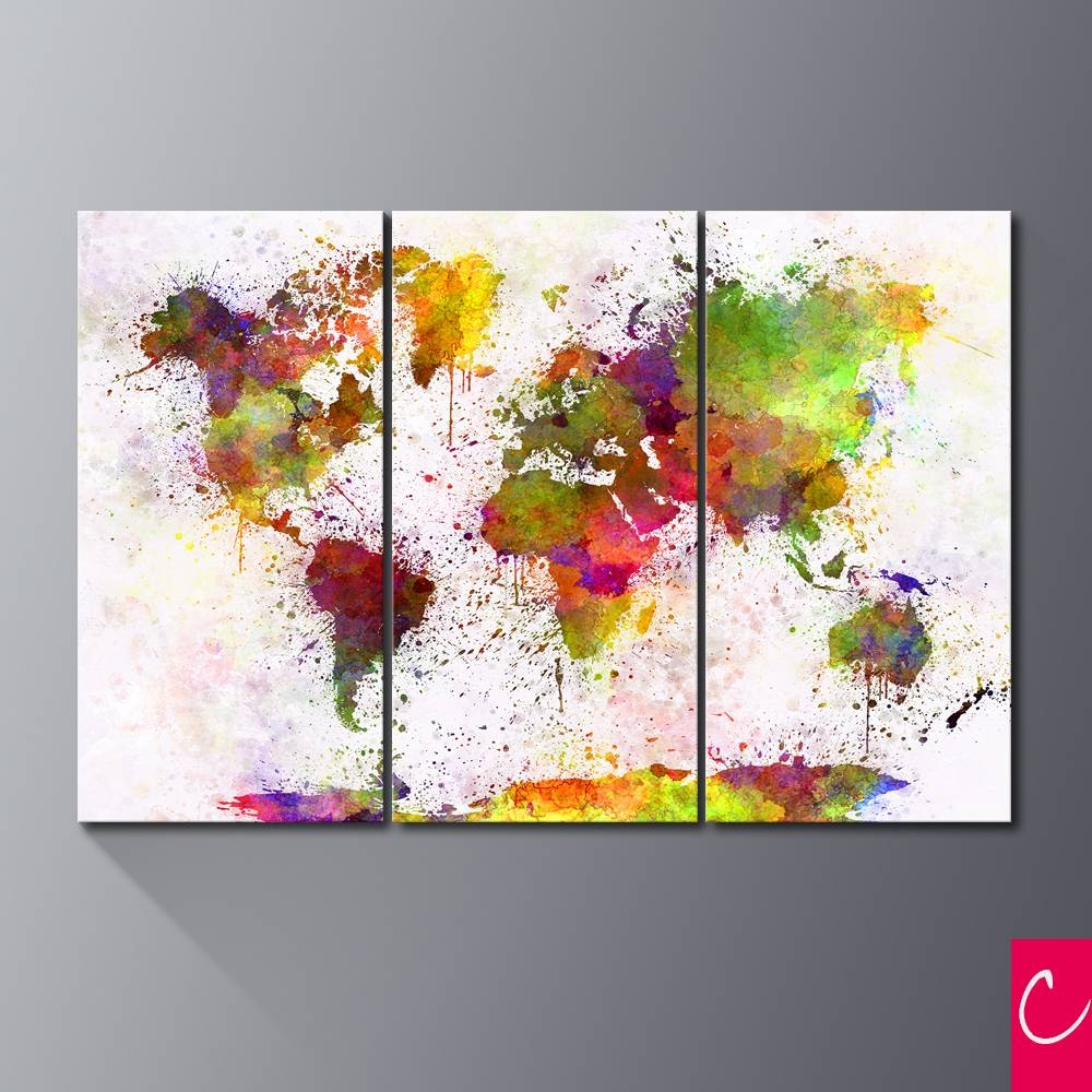 Triptych Abstract World Map Art Print Canvas Painting Modern Wall Inside Most Popular Abstract World Map Wall Art (Gallery 14 of 20)