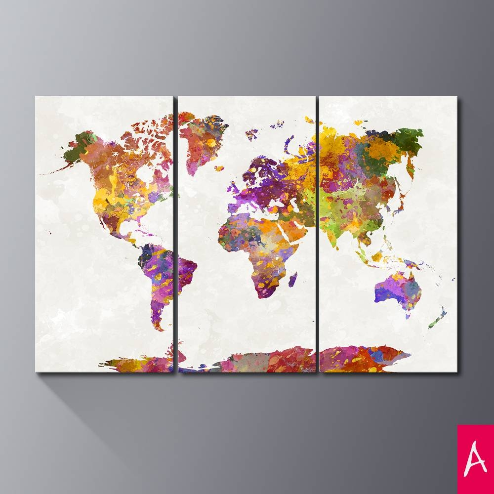Triptych Abstract World Map Art Print Canvas Painting Modern Wall Intended For Most Recent Abstract World Map Wall Art (Gallery 11 of 20)