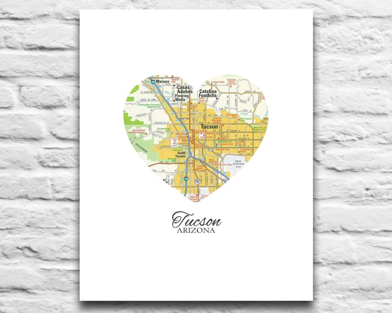 Tucson Arizona Love Map Print Vintage Heart Map Digital Regarding Most Recently Released Map Wall Art Toronto (View 15 of 20)