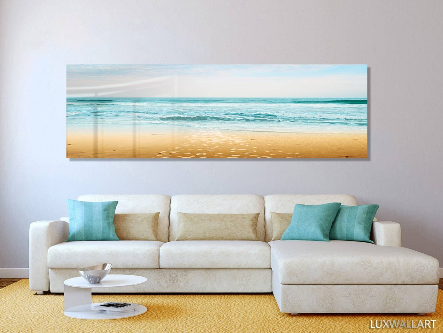 Turquoise Beach Ocean Panoramic Modern Contemporary Hd Metal With 2018 Caribbean Metal Wall Art (View 18 of 20)